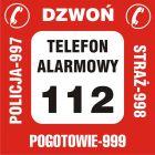 DA005 - Nalepka na telefon - pogotowie 999, straż 998, policja 997, telefon alarmowy 112, dzwoń