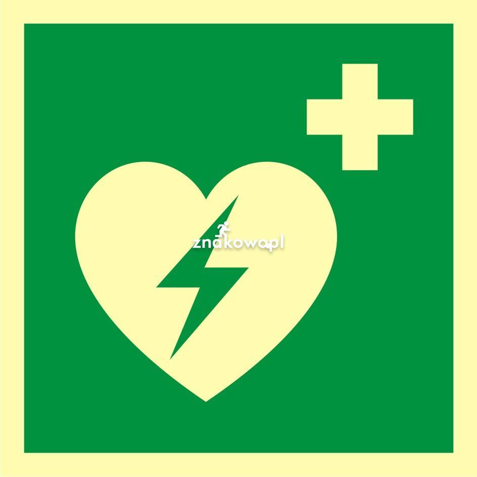 Defibrylator (AED) - Obiekty handlowe – znaki bezpieczeństwa i tablice informacyjne