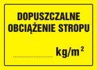 Dopuszczalne obciążenie stropu ........ kg/m2 - znak, tablica budowlana - OA060
