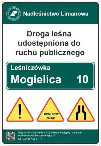 Droga leśna udostępniona do ruchu publicznego TL-2 - nadleśnictwo - tablica znak - Znaki drogowe na drodze leśnej