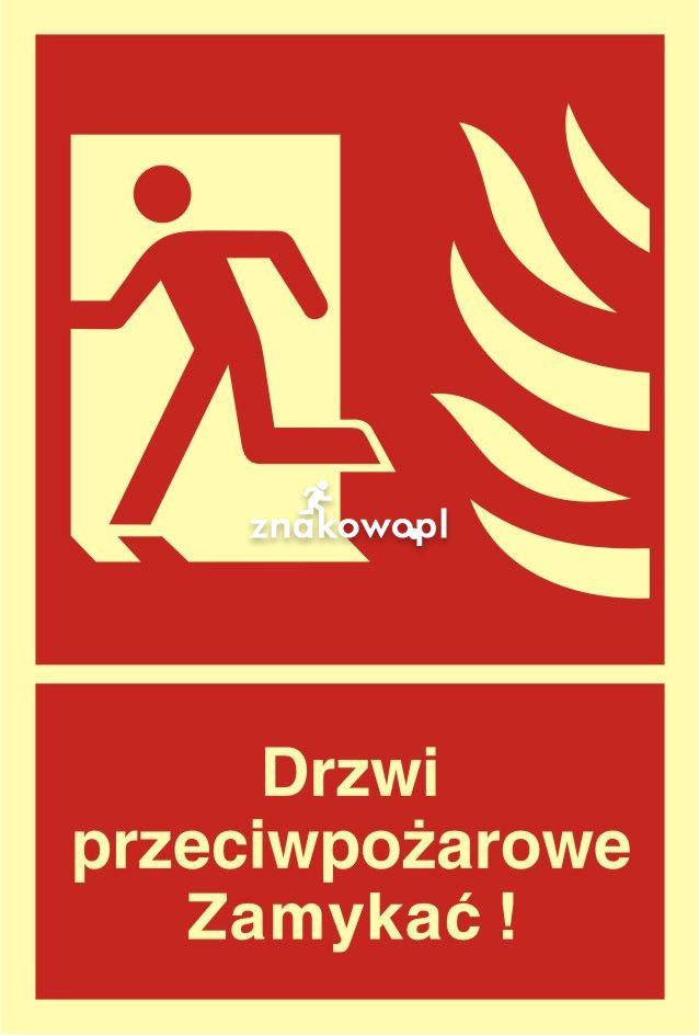 Drzwi przeciwpożarowe. Zamykać! Kierunek drogi ewakuacyjnej w lewo - Obiekty handlowe – znaki bezpieczeństwa i tablice informacyjne