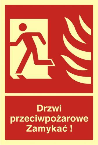 Drzwi przeciwpożarowe. Zamykać! Kierunek drogi ewakuacyjnej w lewo - znak przeciwpożarowy ppoż - BB011 - Ochrona przeciwpożarowa – instrukcje