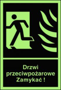 Drzwi przeciwpożarowe. Zamykać! Kierunek drogi ewakuacyjnej w lewo - znak przeciwpożarowy ppoż - BB011