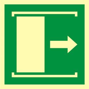 Drzwi przesuwane w celu otwarcia - znak ewakuacyjny - AAE033
