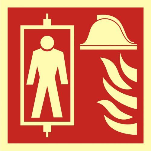 Dźwig dla straży pożarnej - znak przeciwpożarowy ppoż - BB022 - Drogi pożarowe – oznakowanie