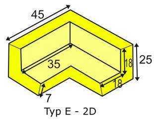 Elastyczny łącznik narożny 2D do profili typu E