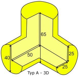 Elastyczny łącznik narożny 3D do profili typu A