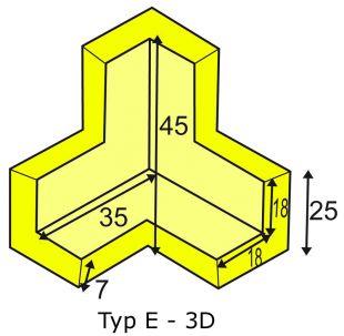 Elastyczny łącznik narożny 3D do profili typu E