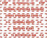 Epidemia - przeciwdziałanie pandemii - naklejka na podłogę 10x100cm - BHP a koronawirus