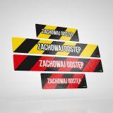 Epidemia - przeciwdziałanie pandemii - znak podłogowy, naklejka BHP - zachowaj odstęp - pasy - BHP a koronawirus