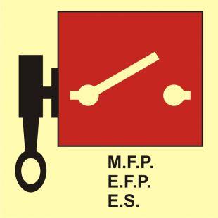FA018 - Zdalnie sterowane pompy pożarowe lub wyłączniki awaryjne - znak morski