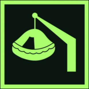 FB038 - Tratwa wodowana żurawikiem - znak morski