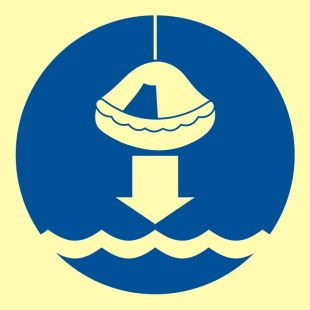 FC005 - Opuścić na wodę tratwę ratunkową - znak morski