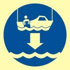 FC006 - Opuścić na wodę łódź ratowniczą - znak morski