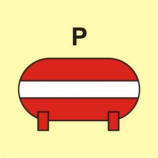 FI074 - Zamocowana instalacja gaśnicza (P-proszek) - znak morski