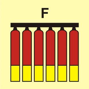 FI078 - Zamocowana bateria gaśnicza (F-piana) - znak morski