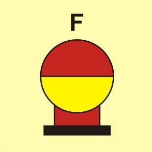 FI084 - Zamocowana butla gaśnicza umieszczona w zabezp. (F-piana) - znak morski
