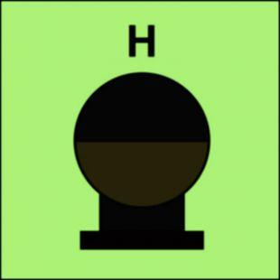 FI085 - Zamocowana butla gaśnicza umieszczona w zabezp. (H-gaz) - znak morski