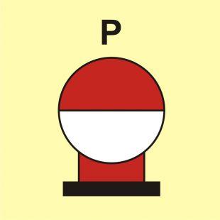 FI086 - Zamocowana butla gaśnicza umieszczona w zabezp. (P-proszek) - znak morski