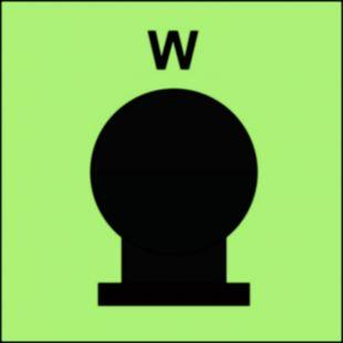 FI087 - Zamocowana butla gaśnicza umieszczona w zabezp. (W-woda) - znak morski