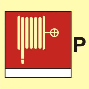 FI095 - Wąż i dysza pożarnicza (P-proszek) - znak morski