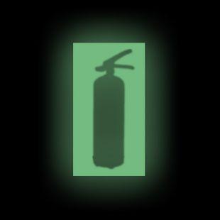 Fotoluminescencyjna plansza naścienna oświetlająca gaśnicę