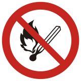 GAP003 - Zakaz używania otwartego ognia, zakaz palenia tytoniu - znak bhp zakazujący - Substancje łatwopalne – piktogramy CLP