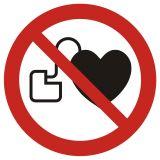 GAP007 - Zakaz wstępu osobom ze stymulatorem serca - znak bhp zakazujący - Znaki BHP w miejscu pracy (norma PN-93/N-01256/03)