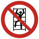 GAP009 - Zakaz wspinania się - znak bhp zakazujący - Znaki BHP w miejscu pracy (norma PN-93/N-01256/03)