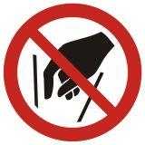 GAP015 - Zakaz wkładania rąk do środka - znak bhp zakazujący - Znaki BHP w miejscu pracy (norma PN-93/N-01256/03)