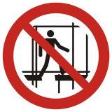 GAP025 - Zakaz używania niekompletnego rusztowania - znak bhp zakazujący - Instrukcje BHP dla obcokrajowców