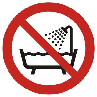 GAP026 - Zakaz używania urządzenia w wannie, pod prysznicem i w zbiornikach wypełnionych wodą - znak bhp zakazujący