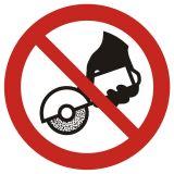 GAP034 - Zakaz używania szlifierki ręcznej - znak bhp zakazujący - BHP na halach produkcyjnych