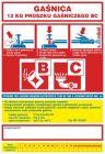 Gaśnica 12 kg proszku gaśniczego BC - naklejka, nalepka na gaśnicę - CA012