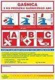 Gaśnica   2 kg proszku gaśniczego ABC - naklejka, nalepka na gaśnicę - CA004 - Zasady doboru gaśnic
