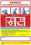 Gaśnica   2 kg proszku gaśniczego BC - naklejka, nalepka na gaśnicę - CA005 - Zasady doboru gaśnic