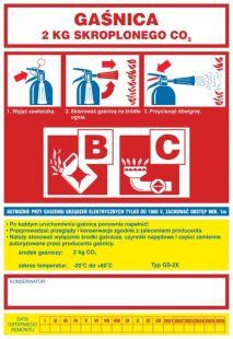 Gaśnica   2 kg skroplonego CO2 BC - naklejka, nalepka na gaśnicę - CA014