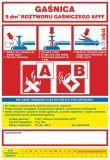 Gaśnica   9 dm3 roztworu gaśniczego AB - naklejka, nalepka na gaśnicę - CA017 - Zasady doboru gaśnic