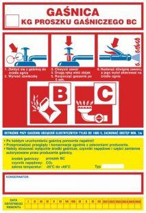 Gaśnica .....kg proszku gaśniczego BC   - ogólna nalepka na gaśnice - CA002