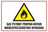 Gaz płynny propan - butan niebezpieczeństwo wybuchu - znak ostrzegający, informujący - NC007 - Prace niebezpieczne pod względem pożarowym