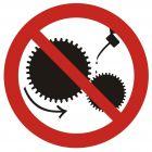 GB004 - Zakaz smarowania urządzeń w ruchu - znak bhp zakazujący