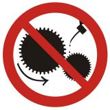 GB004 - Zakaz smarowania urządzeń w ruchu - znak bhp zakazujący - Warsztat samochodowy – bezpieczeństwo i znaki BHP