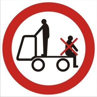 GB018 - Zakaz przewozu osób na urządzeniach transportowych 2 - znak bhp zakazujący