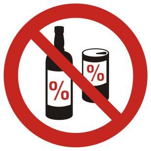 GB024 - Zakaz spożywania alkoholu - znak bhp zakazujący