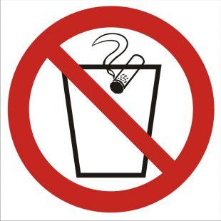 GB025 - Zakaz wrzucania niedopałków do kosza - znak bhp zakazujący