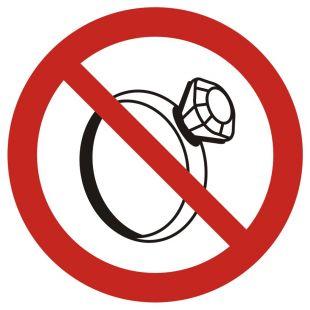GB030 - Zakaz noszenia biżuterii w pomieszczeniach produkcyjnych - znak bhp zakazujący