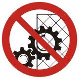 GB031 - Zakaz zdejmowania osłon podczas pracy urządzenia - znak bhp zakazujący - Warsztat samochodowy – bezpieczeństwo i znaki BHP