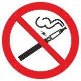 """GB042 - Zakaz palenia papierosów elektronicznych - znak bhp zakazujący - """"Nie"""" dla e-papierosów w miejscach publicznych"""