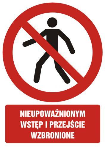 GC007 - Nieupoważnionym wstęp i przejście wzbronione - znak bhp zakazujący, informujący - Wymagania dla pomieszczeń pracy