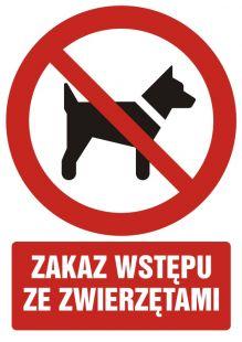 GC012 - Zakaz wstępu ze zwierzętami - znak bhp zakazujący